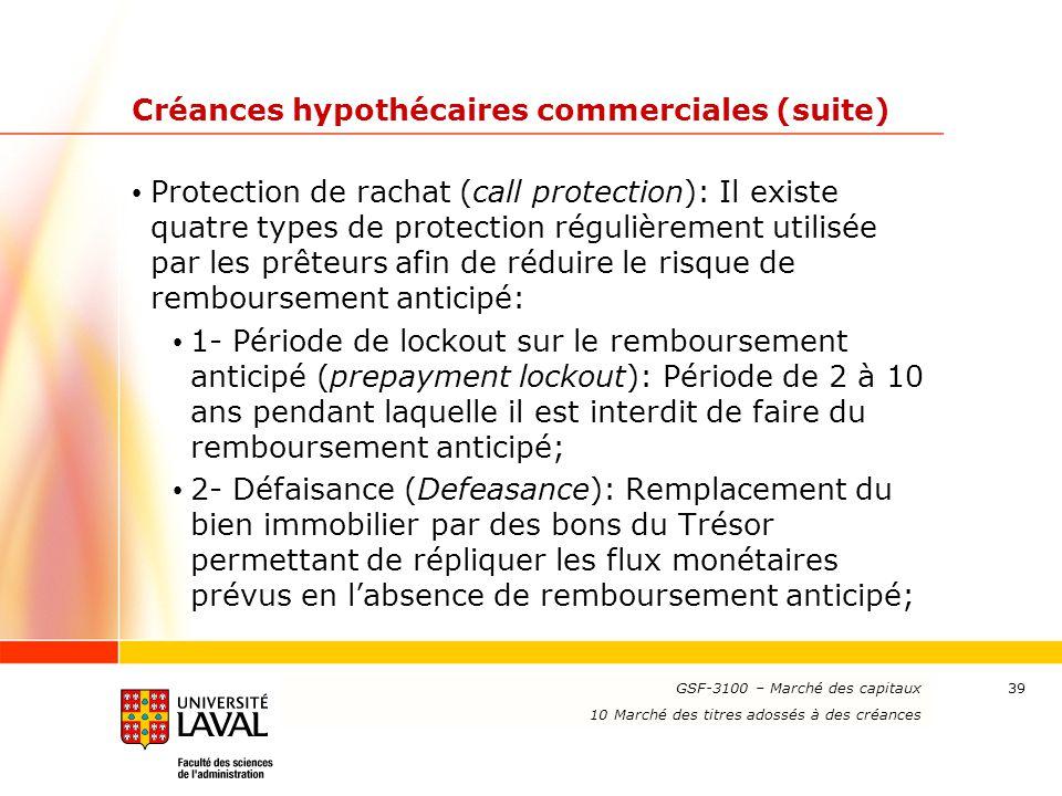 www.ulaval.ca 39 Créances hypothécaires commerciales (suite) Protection de rachat (call protection): Il existe quatre types de protection régulièremen