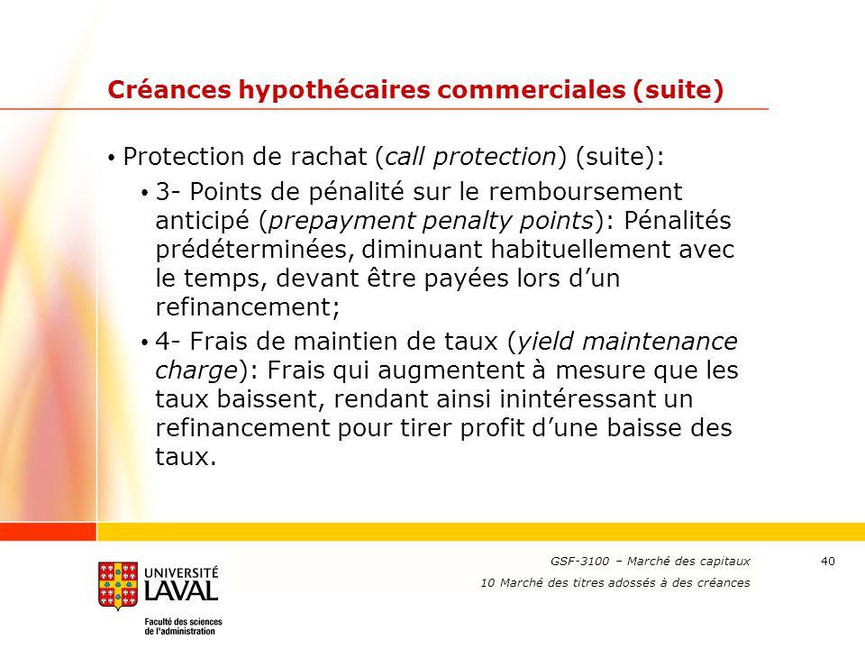 www.ulaval.ca 40 Créances hypothécaires commerciales (suite) Protection de rachat (call protection) (suite): 3- Points de pénalité sur le remboursemen