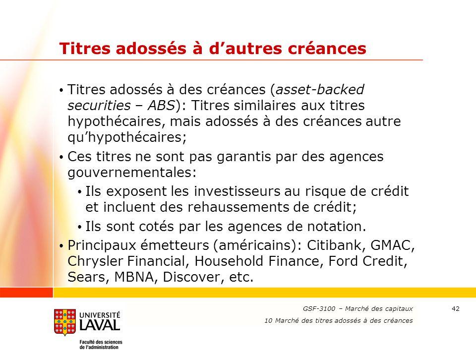 www.ulaval.ca 42 Titres adossés à d'autres créances Titres adossés à des créances (asset-backed securities – ABS): Titres similaires aux titres hypoth
