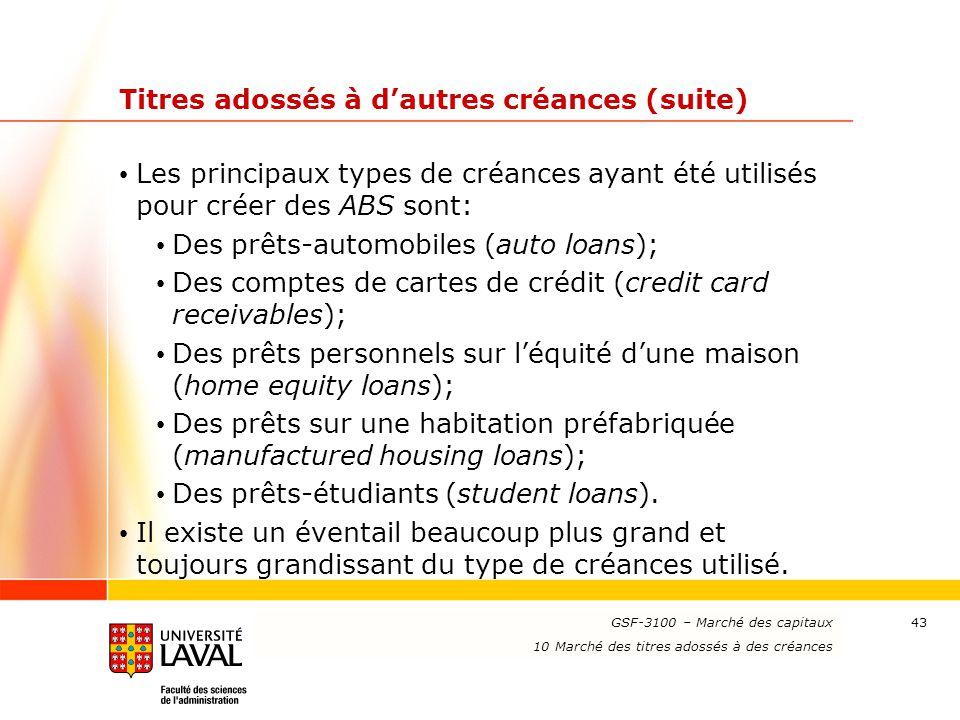 www.ulaval.ca 43 Titres adossés à d'autres créances (suite) Les principaux types de créances ayant été utilisés pour créer des ABS sont: Des prêts-aut