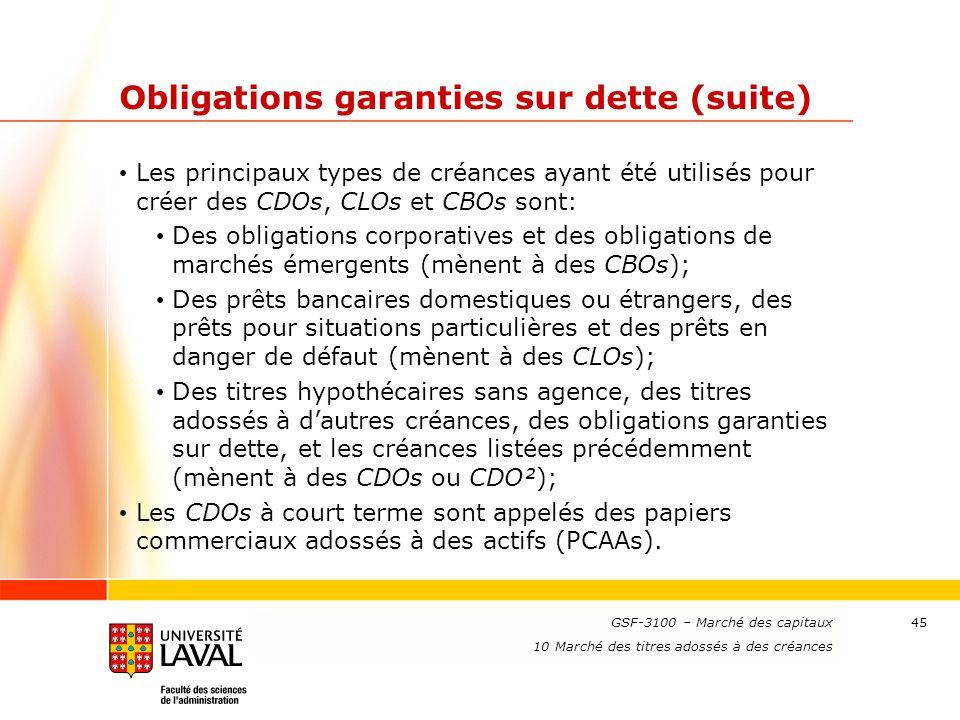 www.ulaval.ca 45 Obligations garanties sur dette (suite) Les principaux types de créances ayant été utilisés pour créer des CDOs, CLOs et CBOs sont: D