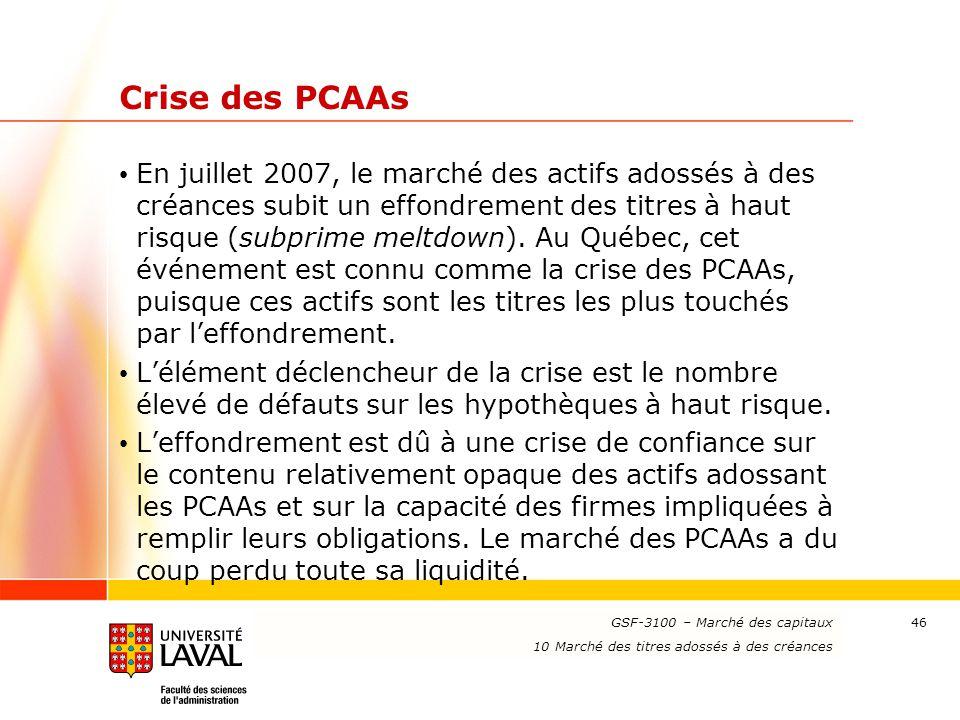 www.ulaval.ca 46 Crise des PCAAs En juillet 2007, le marché des actifs adossés à des créances subit un effondrement des titres à haut risque (subprime