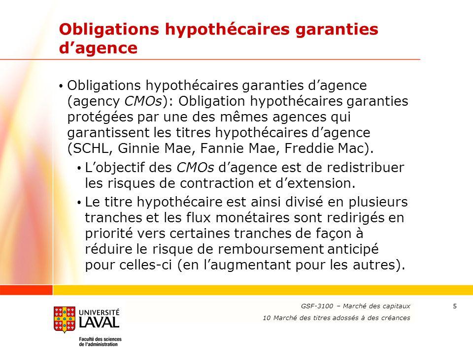 www.ulaval.ca 5 Obligations hypothécaires garanties d'agence Obligations hypothécaires garanties d'agence (agency CMOs): Obligation hypothécaires gara