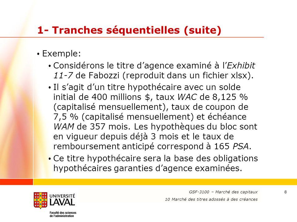 www.ulaval.ca 8 1- Tranches séquentielles (suite) Exemple: Considérons le titre d'agence examiné à l'Exhibit 11-7 de Fabozzi (reproduit dans un fichie