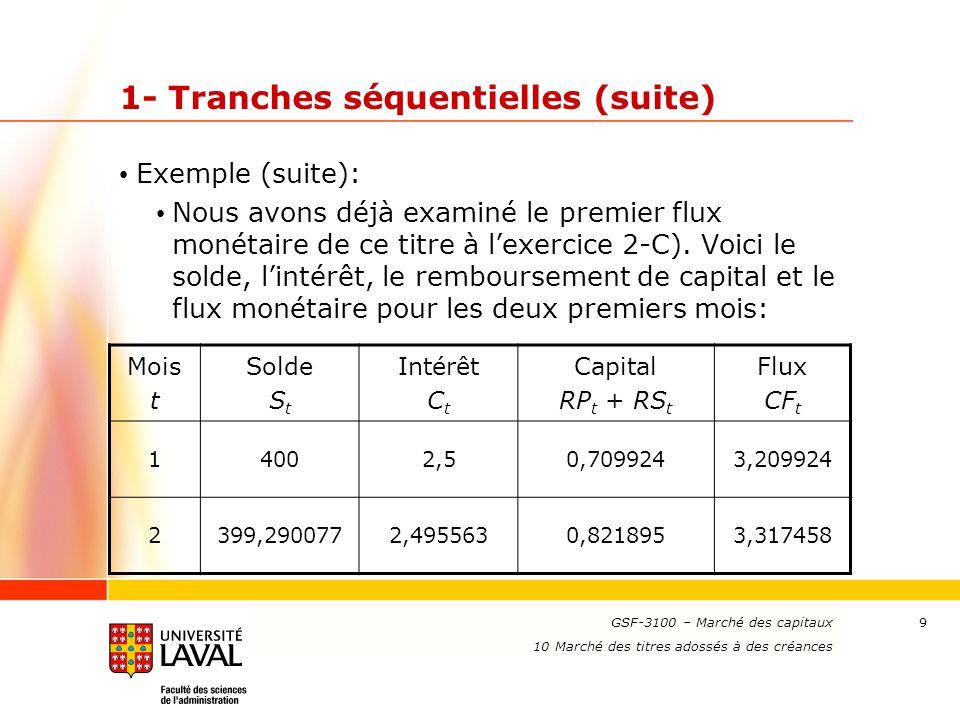 www.ulaval.ca 9 1- Tranches séquentielles (suite) Exemple (suite): Nous avons déjà examiné le premier flux monétaire de ce titre à l'exercice 2-C). Vo