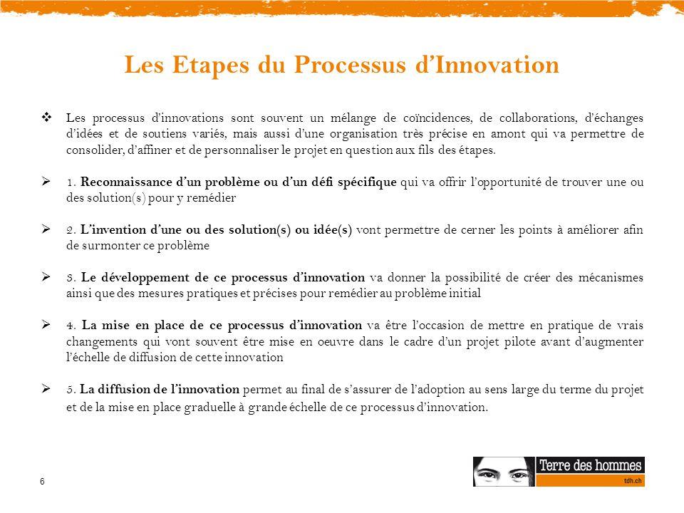 6 Les Etapes du Processus d'Innovation  Les processus d'innovations sont souvent un mélange de coïncidences, de collaborations, d'échanges d'idées et de soutiens variés, mais aussi d'une organisation très précise en amont qui va permettre de consolider, d'affiner et de personnaliser le projet en question aux fils des étapes.