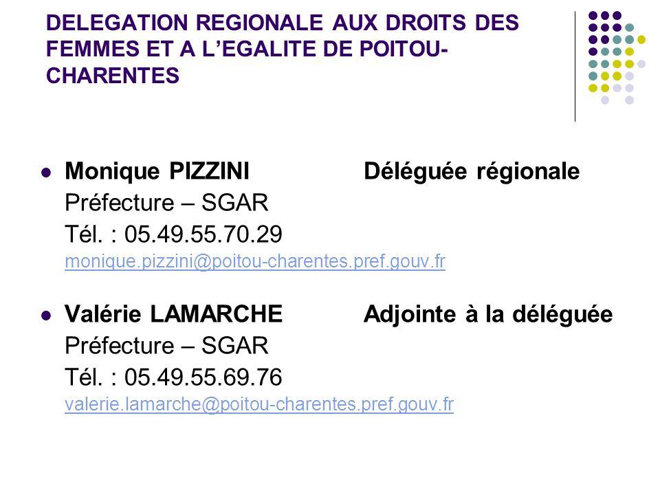 DELEGATION REGIONALE AUX DROITS DES FEMMES ET A L'EGALITE DE POITOU- CHARENTES Monique PIZZINI Déléguée régionale Préfecture – SGAR Tél.