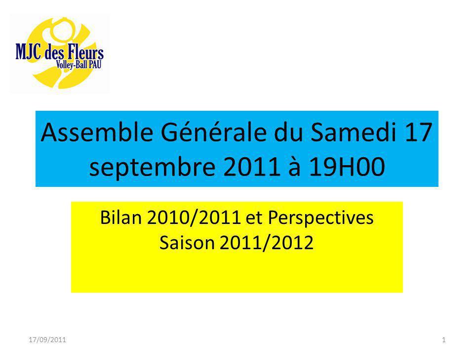 Assemble Générale du Samedi 17 septembre 2011 à 19H00 Bilan 2010/2011 et Perspectives Saison 2011/2012 17/09/20111