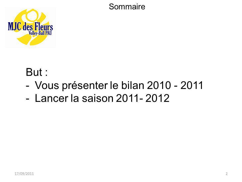 2 Sommaire But : -Vous présenter le bilan 2010 - 2011 -Lancer la saison 2011- 2012