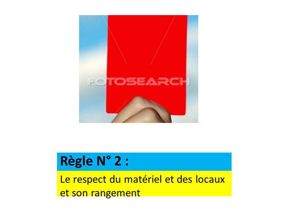 Le respect du matériel et des locaux et son rangement Règle N° 2 :