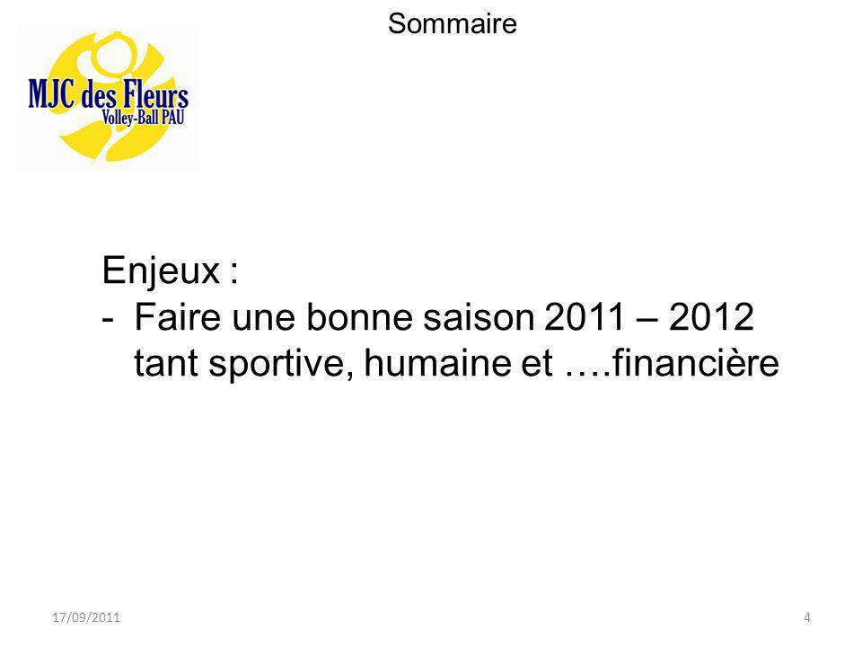 17/09/20114 Sommaire Enjeux : -Faire une bonne saison 2011 – 2012 tant sportive, humaine et ….financière