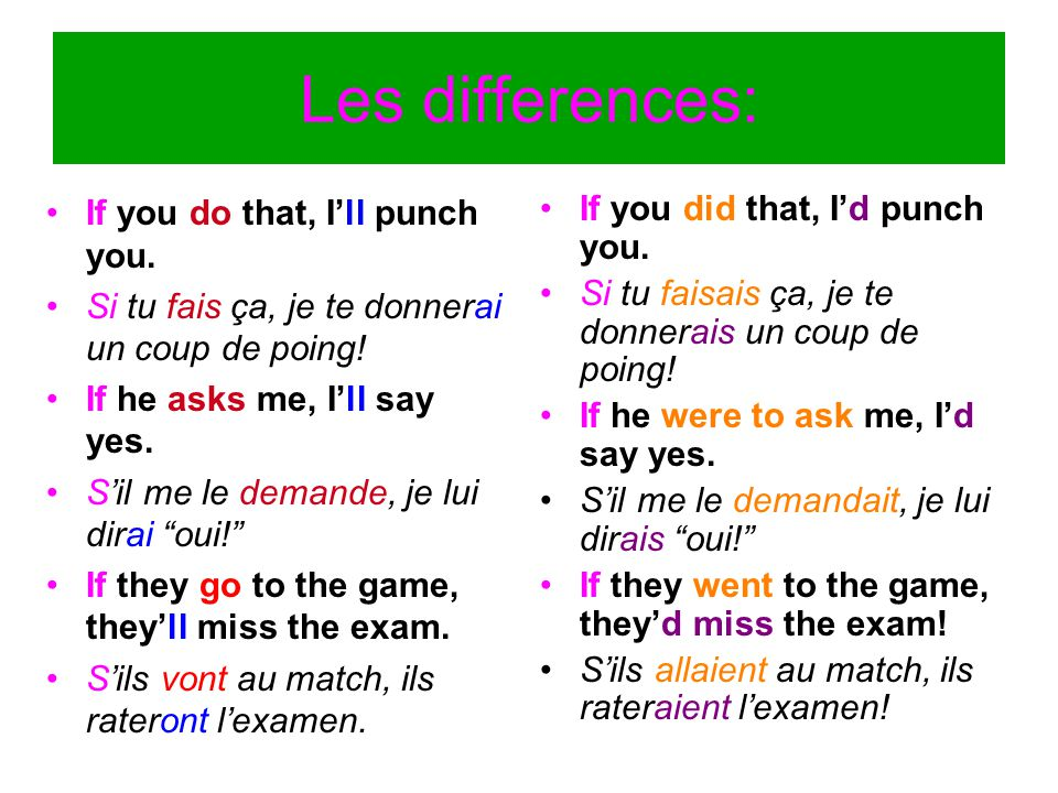 Les differences: If you do that, I'll punch you. Si tu fais ça, je te donnerai un coup de poing! If he asks me, I'll say yes. S'il me le demande, je l