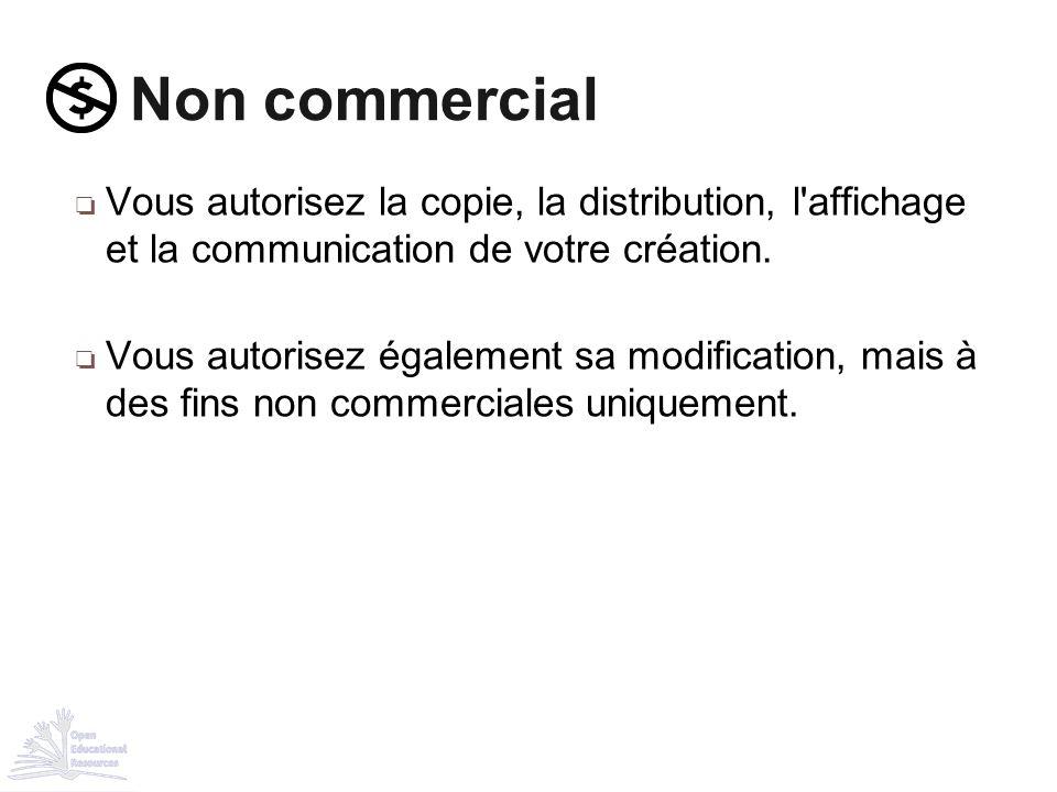 ❏ Vous autorisez la copie, la distribution, l'affichage et la communication de votre création. ❏ Vous autorisez également sa modification, mais à des