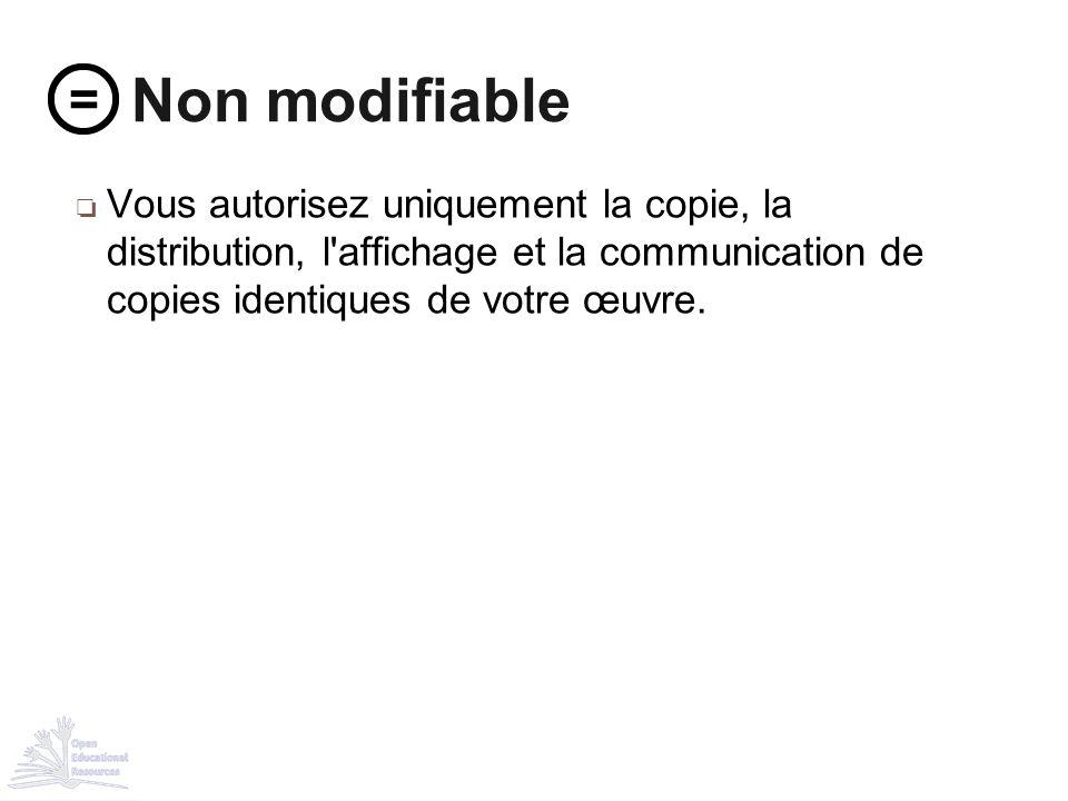 ❏ Vous autorisez uniquement la copie, la distribution, l'affichage et la communication de copies identiques de votre œuvre. Non modifiable