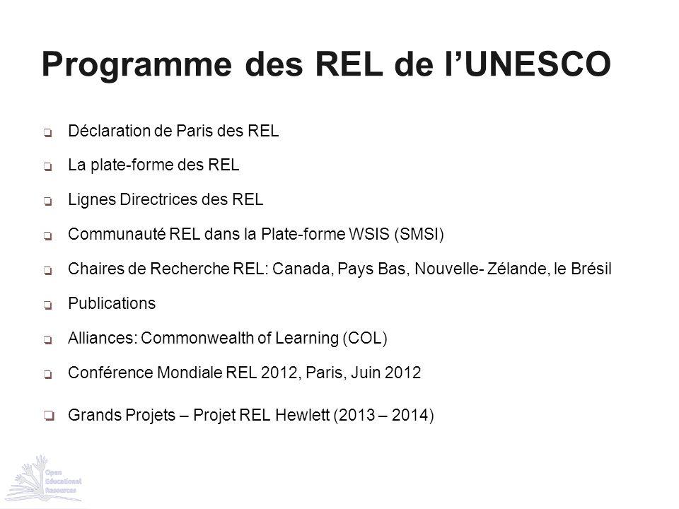 ❏ Déclaration de Paris des REL ❏ La plate-forme des REL ❏ Lignes Directrices des REL ❏ Communauté REL dans la Plate-forme WSIS (SMSI) ❏ Chaires de Rec