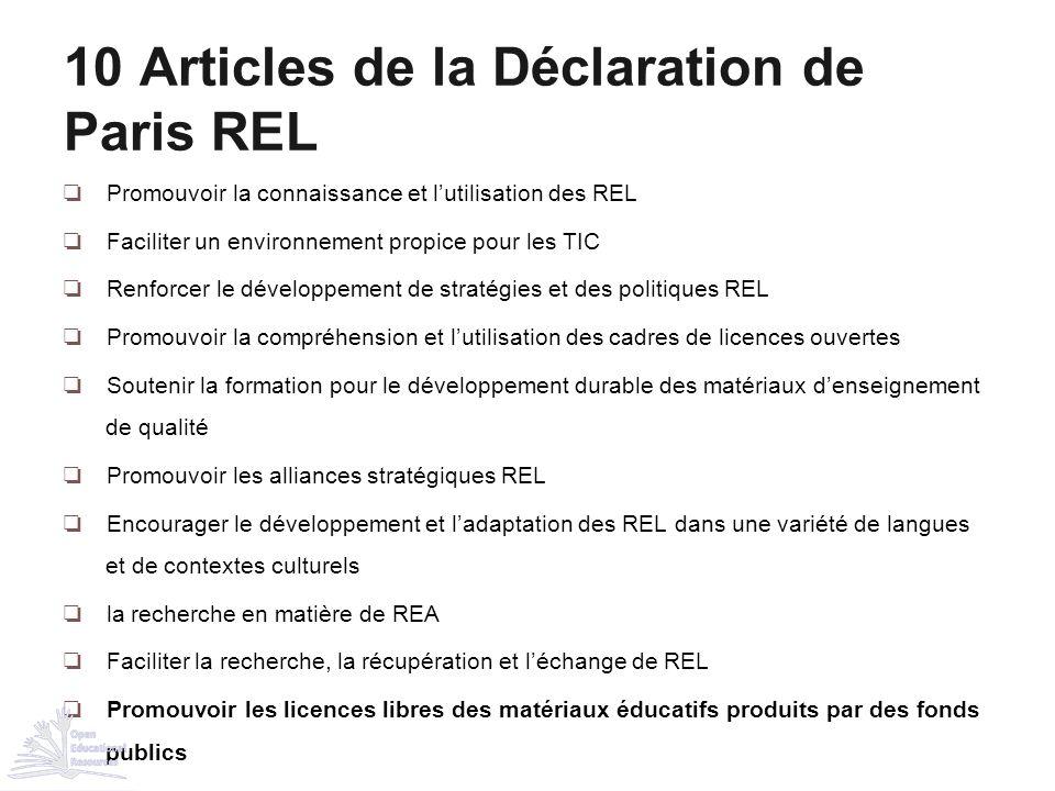 ❏ Promouvoir la connaissance et l'utilisation des REL ❏ Faciliter un environnement propice pour les TIC ❏ Renforcer le développement de stratégies et
