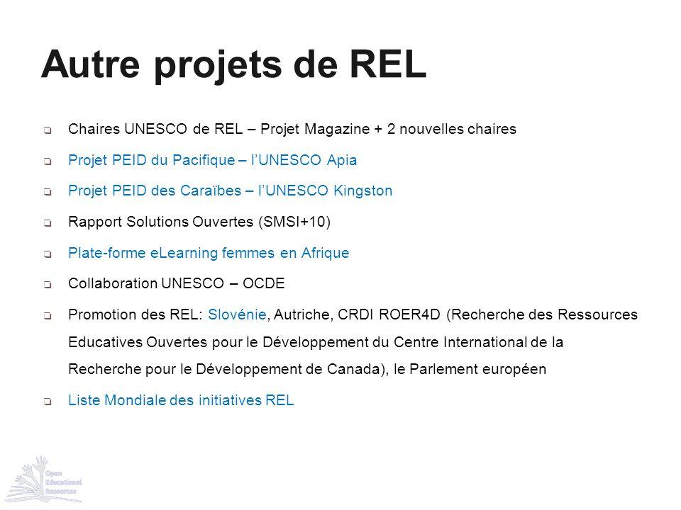 ❏ Chaires UNESCO de REL – Projet Magazine + 2 nouvelles chaires ❏ Projet PEID du Pacifique – l'UNESCO Apia ❏ Projet PEID des Caraïbes – l'UNESCO Kings