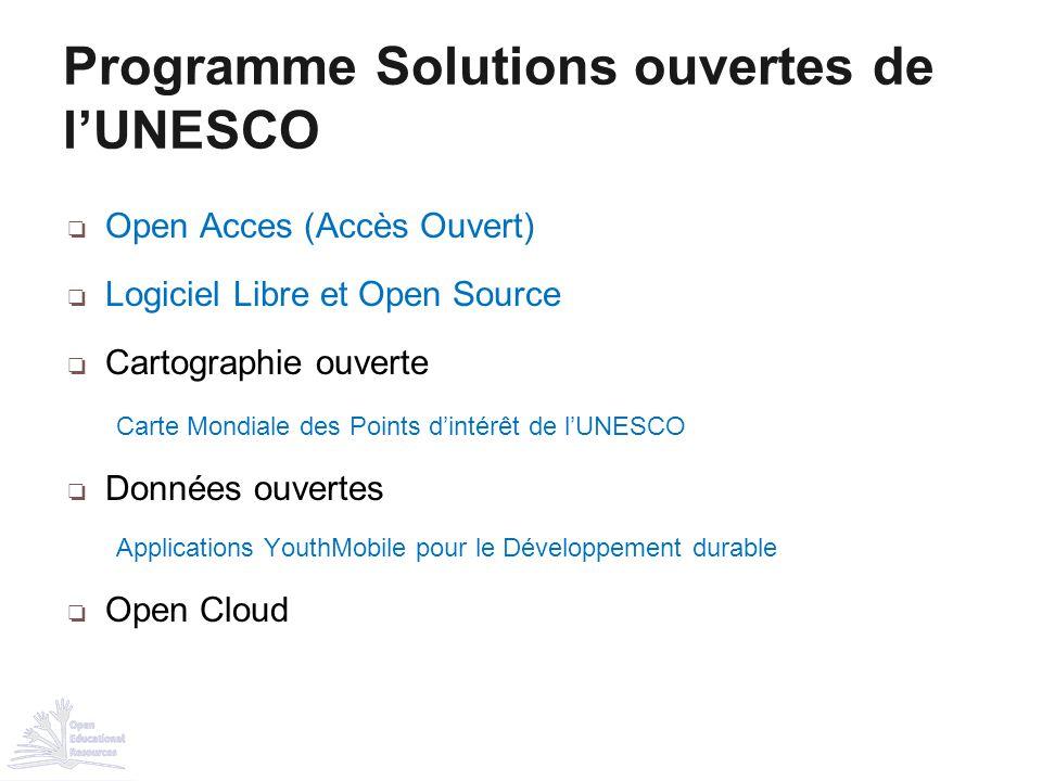 ❏ Open Acces (Accès Ouvert) ❏ Logiciel Libre et Open Source ❏ Cartographie ouverte Carte Mondiale des Points d'intérêt de l'UNESCO ❏ Données ouvertes