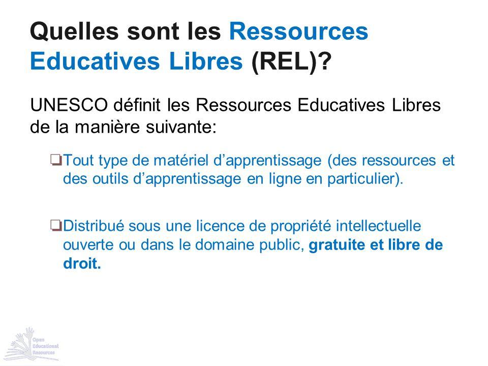 UNESCO définit les Ressources Educatives Libres de la manière suivante: ❏ Tout type de matériel d'apprentissage (des ressources et des outils d'appren