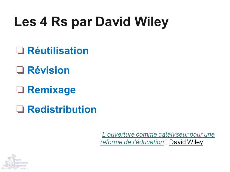 """❏ Réutilisation ❏ Révision ❏ Remixage ❏ Redistribution Les 4 Rs par David Wiley """"L'ouverture comme catalyseur pour une reforme de l'éducation"""", David"""