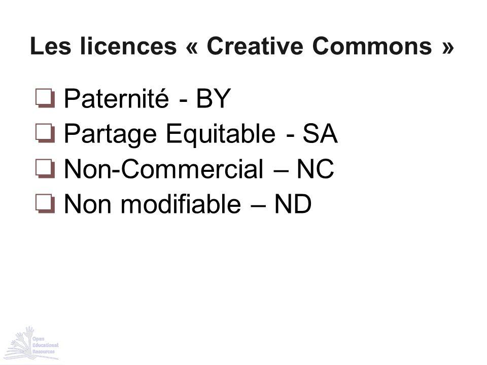 ❏ Paternité - BY ❏ Partage Equitable - SA ❏ Non-Commercial – NC ❏ Non modifiable – ND Les licences « Creative Commons »