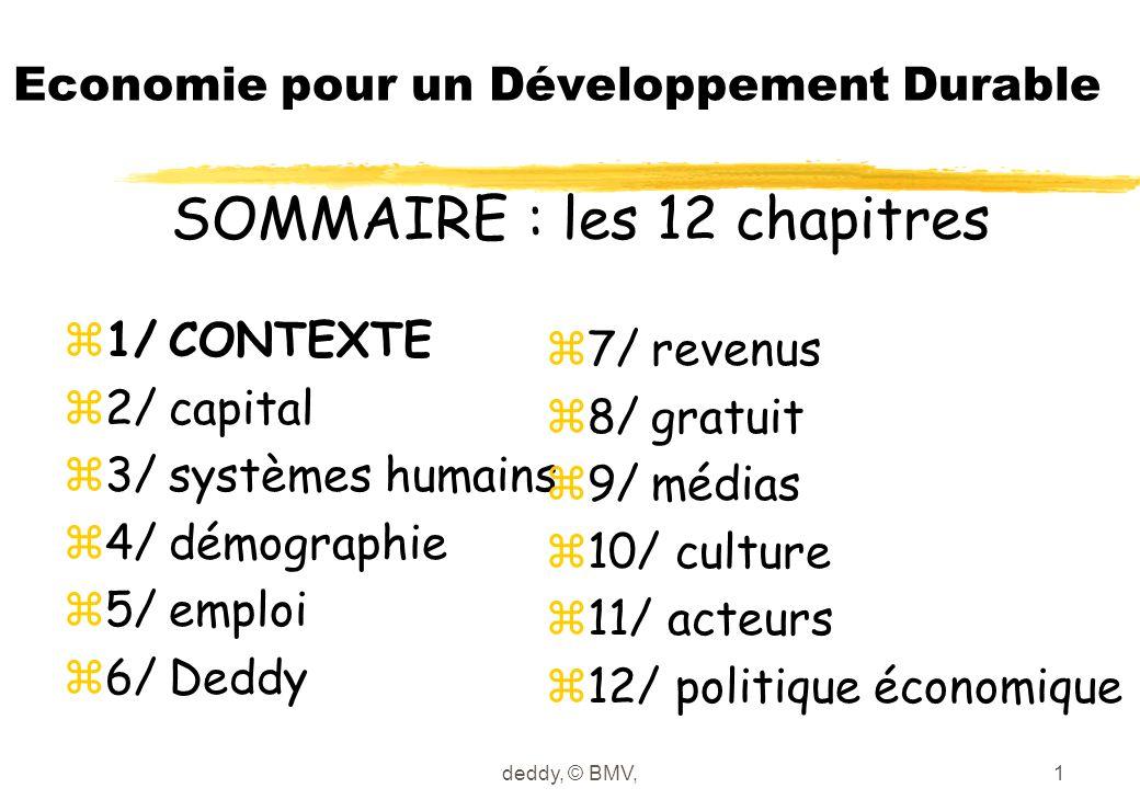 deddy, © BMV,1 Economie pour un Développement Durable z1/CONTEXTE z2/capital z3/systèmes humains z4/démographie z5/emploi z6/Deddy z7/revenus z8/gratu