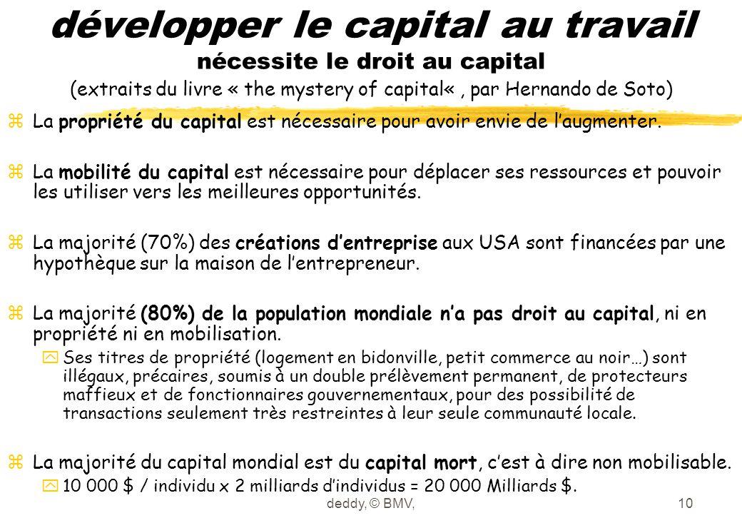 deddy, © BMV,10 développer le capital au travail nécessite le droit au capital (extraits du livre « the mystery of capital«, par Hernando de Soto) zLa