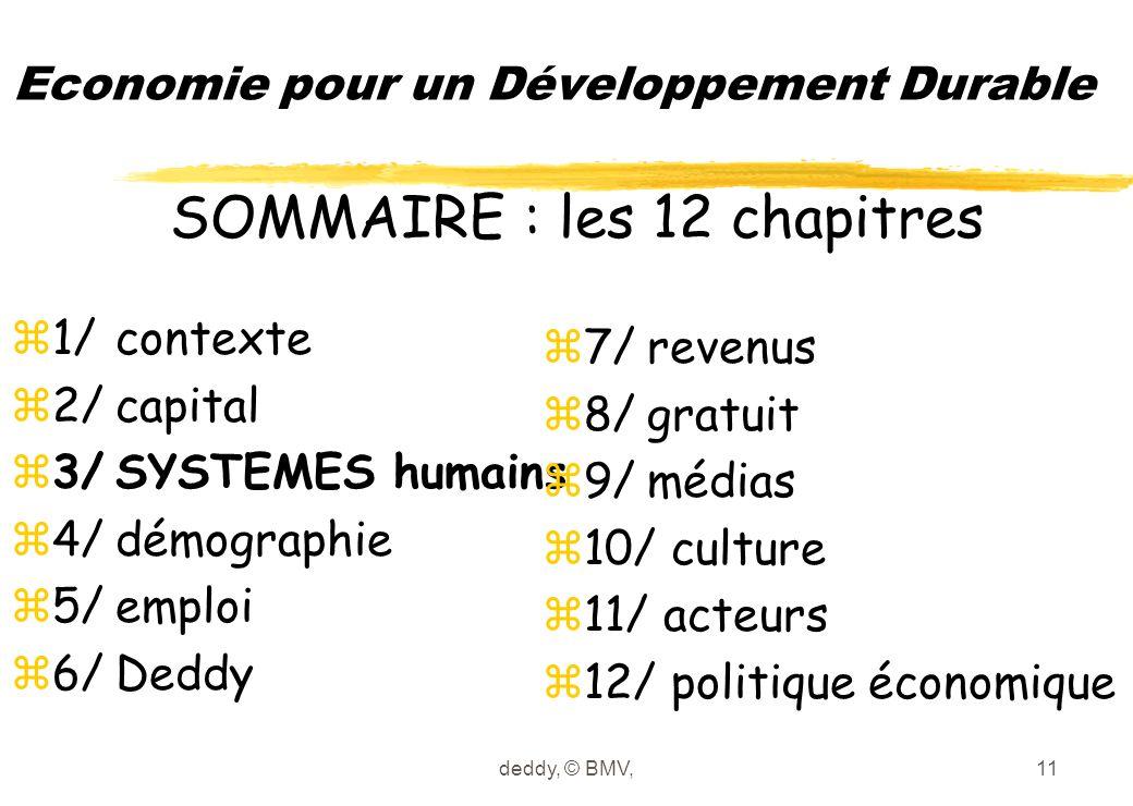 deddy, © BMV,11 Economie pour un Développement Durable z1/contexte z2/capital z3/SYSTEMES humains z4/démographie z5/emploi z6/Deddy z7/revenus z8/grat