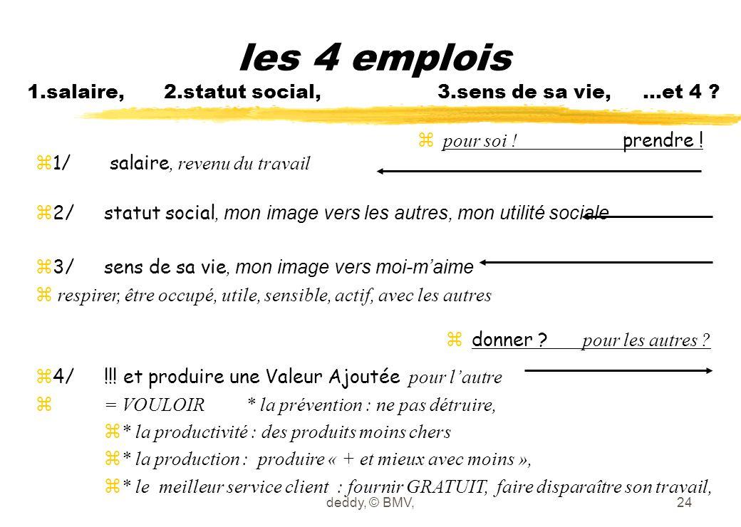 deddy, © BMV,24 les 4 emplois 1.salaire, 2.statut social, 3.sens de sa vie, …et 4 ?  1/ salaire, revenu du travail  2/statut social, mon image vers