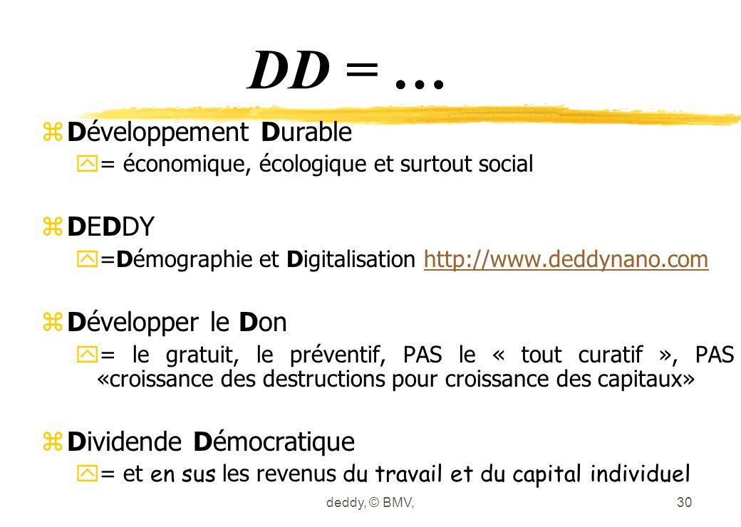 deddy, © BMV,30 DD = … z Développement Durable y = économique, écologique et surtout social z DEDDY y =Démographie et Digitalisation http://www.deddyn