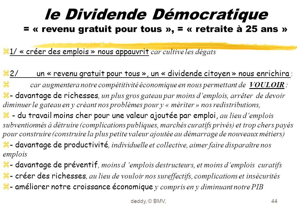 deddy, © BMV,44 le Dividende Démocratique = « revenu gratuit pour tous », = « retraite à 25 ans »  1/ « créer des emplois » nous appauvrit car cultiv