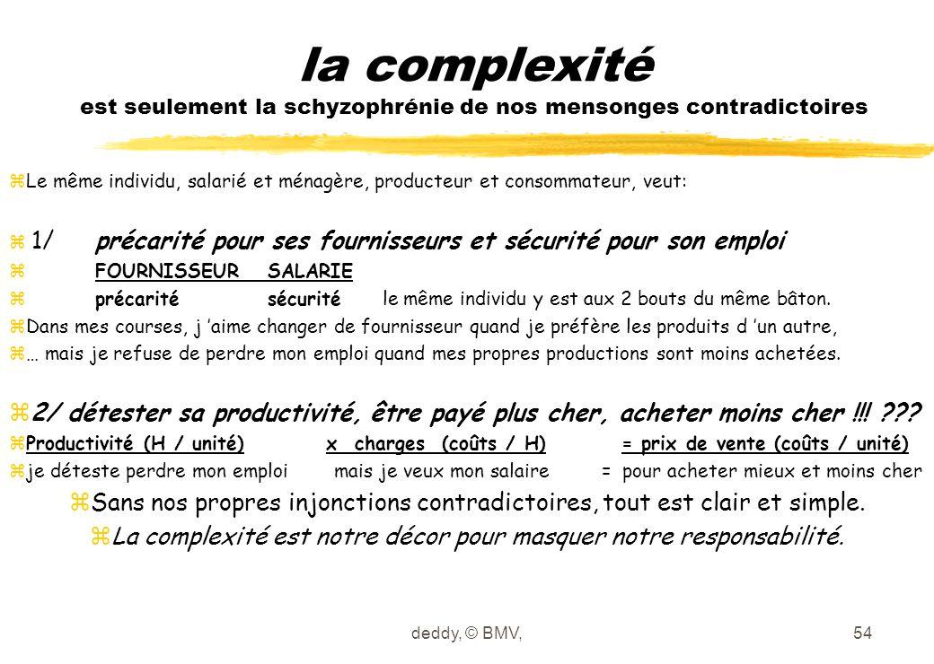 deddy, © BMV,54 la complexité est seulement la schyzophrénie de nos mensonges contradictoires zLe même individu, salarié et ménagère, producteur et co
