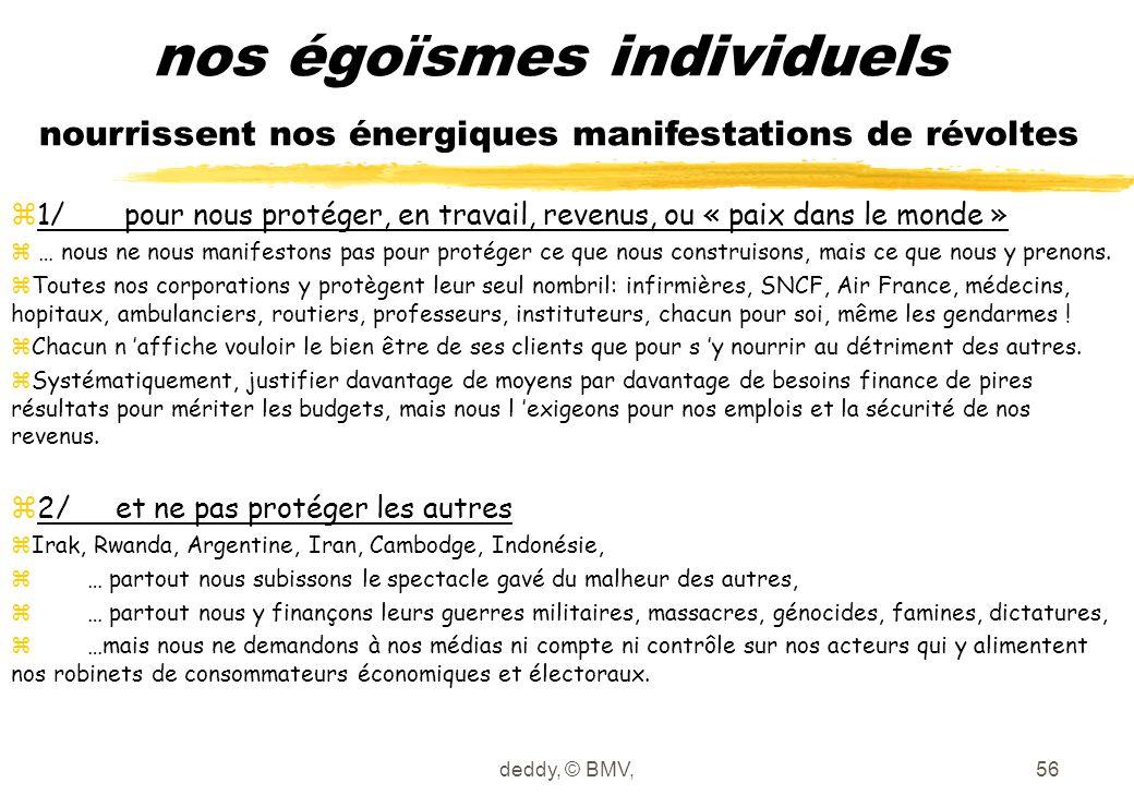 deddy, © BMV,56 nos égoïsmes individuels nourrissent nos énergiques manifestations de révoltes z1/ pour nous protéger, en travail, revenus, ou « paix