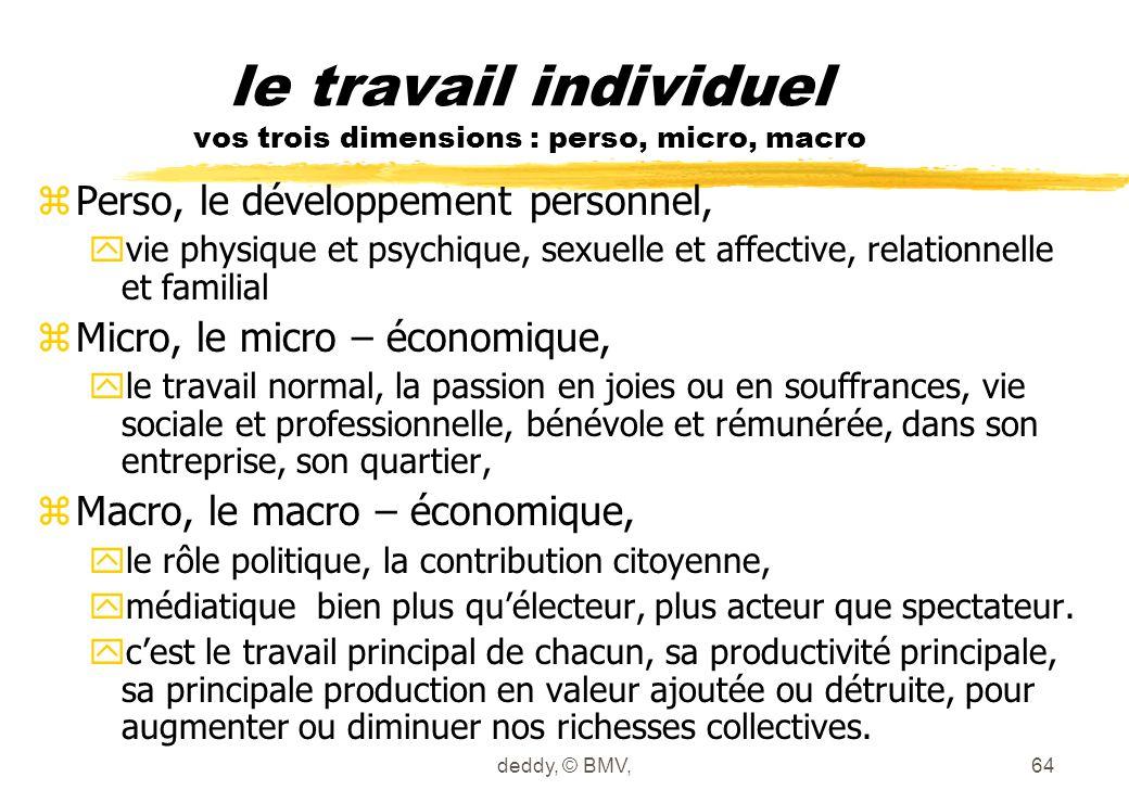 deddy, © BMV,64 le travail individuel vos trois dimensions : perso, micro, macro zPerso, le développement personnel, yvie physique et psychique, sexue