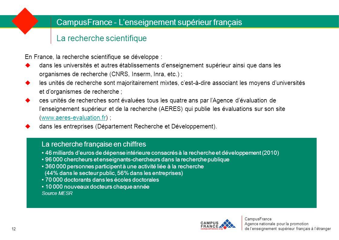 La recherche scientifique CampusFrance Agence nationale pour la promotion de l'enseignement supérieur français à l'étranger En France, la recherche scientifique se développe :  dans les universités et autres établissements d'enseignement supérieur ainsi que dans les organismes de recherche (CNRS, Inserm, Inra, etc.) ;  les unités de recherche sont majoritairement mixtes, c'est-à-dire associant les moyens d'universités et d'organismes de recherche ;  ces unités de recherches sont évaluées tous les quatre ans par l'Agence d'évaluation de l'enseignement supérieur et de la recherche (AERES) qui publie les évaluations sur son site (www.aeres-evaluation.fr) ;www.aeres-evaluation.fr  dans les entreprises (Département Recherche et Développement).