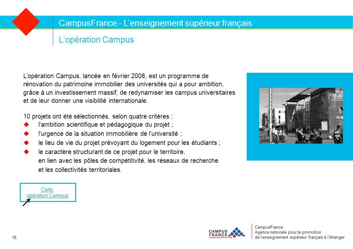 CampusFrance Agence nationale pour la promotion de l'enseignement supérieur français à l'étranger L'opération Campus L'opération Campus, lancée en février 2008, est un programme de rénovation du patrimoine immobilier des universités qui a pour ambition, grâce à un investissement massif, de redynamiser les campus universitaires et de leur donner une visibilité internationale.