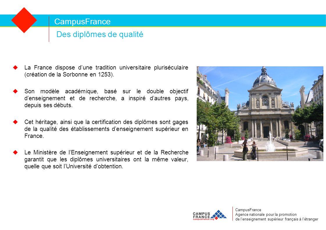 Des diplômes de qualité CampusFrance CampusFrance Agence nationale pour la promotion de l'enseignement supérieur français à l'étranger  La France dispose d'une tradition universitaire pluriséculaire (création de la Sorbonne en 1253).