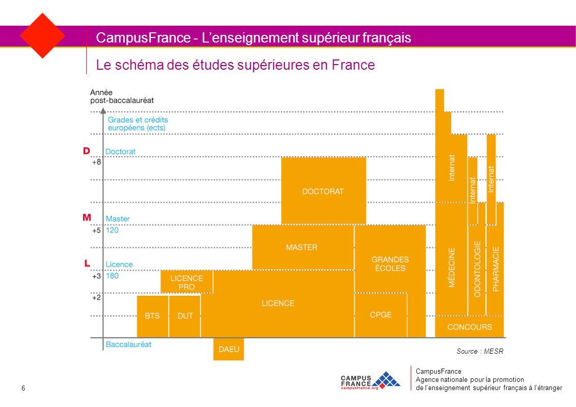 Le schéma des études supérieures en France CampusFrance Agence nationale pour la promotion de l'enseignement supérieur français à l'étranger CampusFrance - L'enseignement supérieur français Source : MESR 6