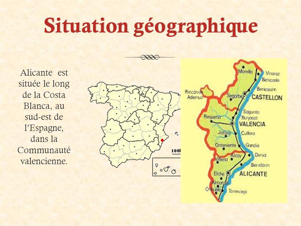 Situation géographiqueSituation géographique Alicante est située le long de la Costa Blanca, au sud-est de l'Espagne, dans la Communauté valencienne.