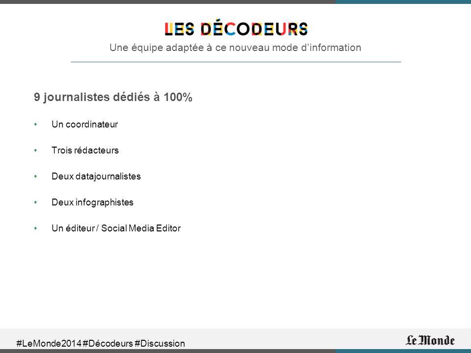 #LeMonde2014 #Décodeurs #Discussion Une équipe adaptée à ce nouveau mode d'information 9 journalistes dédiés à 100% Un coordinateur Trois rédacteurs Deux datajournalistes Deux infographistes Un éditeur / Social Media Editor