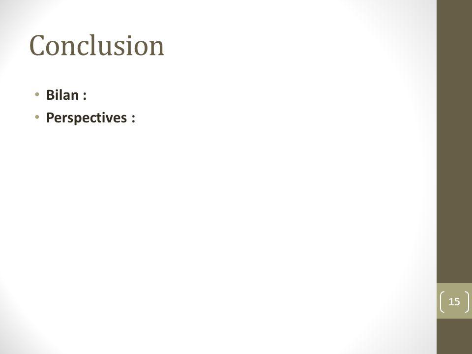 Conclusion Bilan : Perspectives : 15