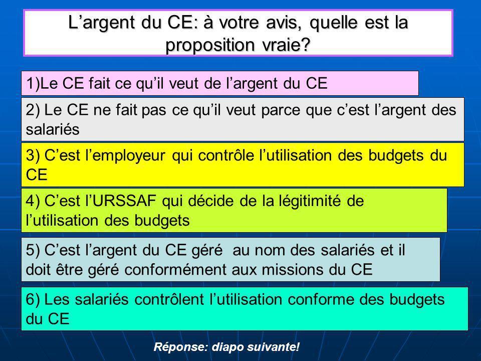 L'argent du CE: à votre avis, quelle est la proposition vraie.