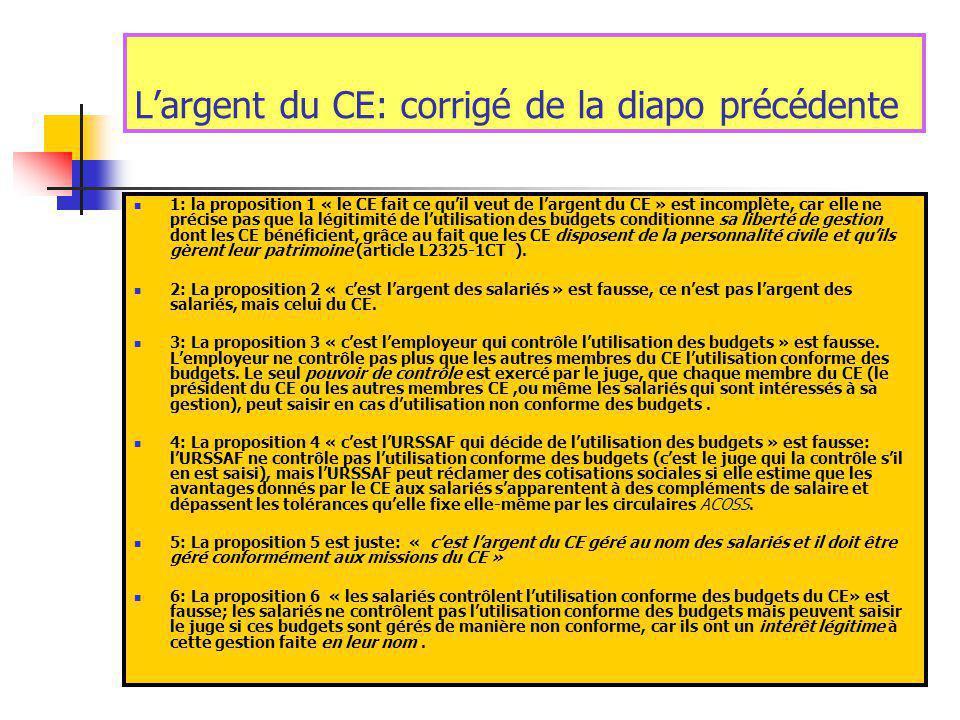 1: la proposition 1 « le CE fait ce qu'il veut de l'argent du CE » est incomplète, car elle ne précise pas que la légitimité de l'utilisation des budgets conditionne sa liberté de gestion dont les CE bénéficient, grâce au fait que les CE disposent de la personnalité civile et qu'ils gèrent leur patrimoine (article L2325-1CT ).