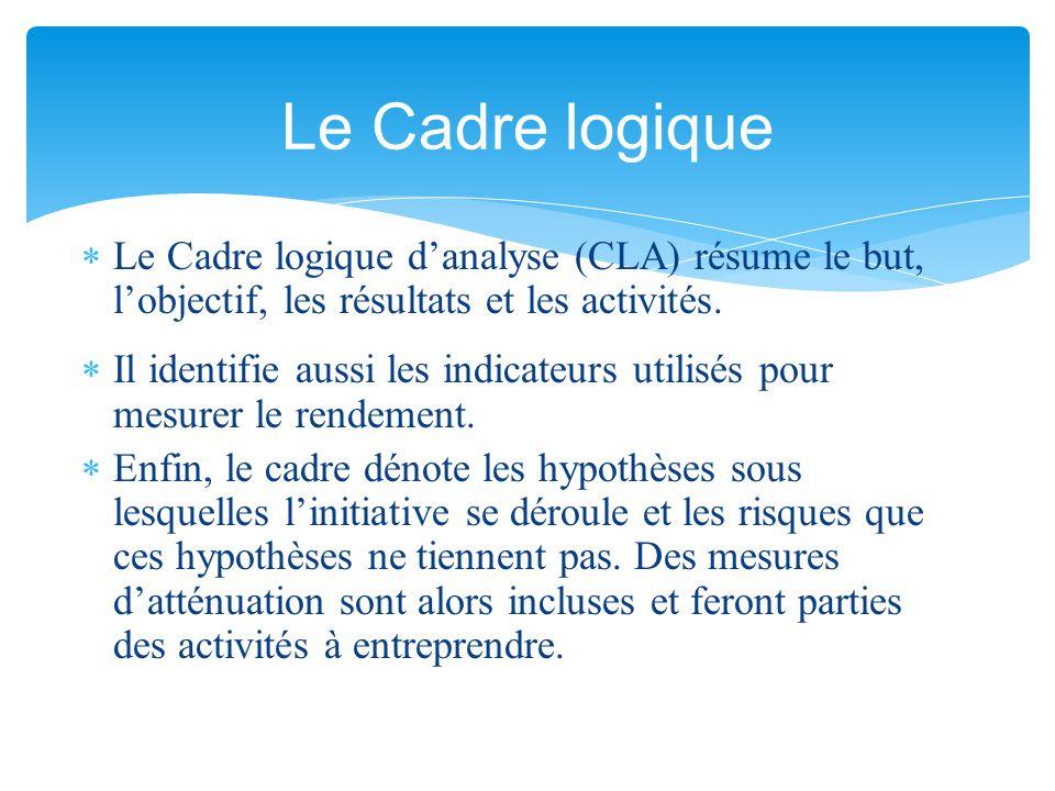  Le Cadre logique d'analyse (CLA) résume le but, l'objectif, les résultats et les activités.  Il identifie aussi les indicateurs utilisés pour mesur