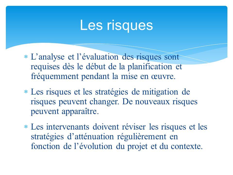  L'analyse et l'évaluation des risques sont requises dès le début de la planification et fréquemment pendant la mise en œuvre.  Les risques et les s