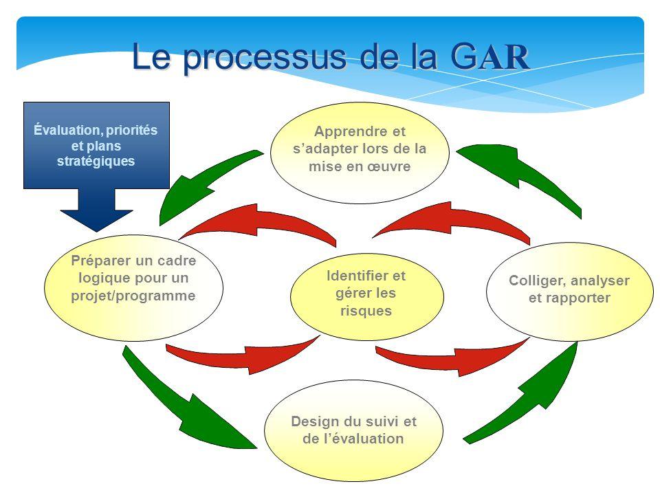 Le processus de la G AR Évaluation, priorités et plans stratégiques Préparer un cadre logique pour un projet/programme Colliger, analyser et rapporter Apprendre et s'adapter lors de la mise en œuvre Design du suivi et de l'évaluation Identifier et gérer les risques