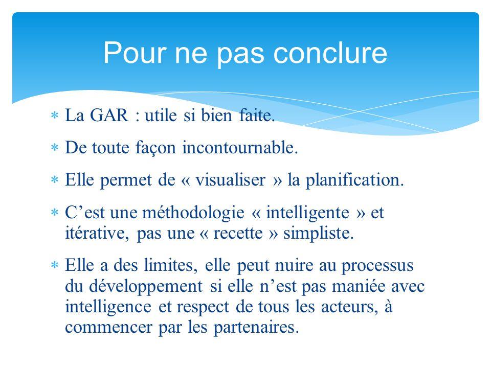  La GAR : utile si bien faite.  De toute façon incontournable.  Elle permet de « visualiser » la planification.  C'est une méthodologie « intellig