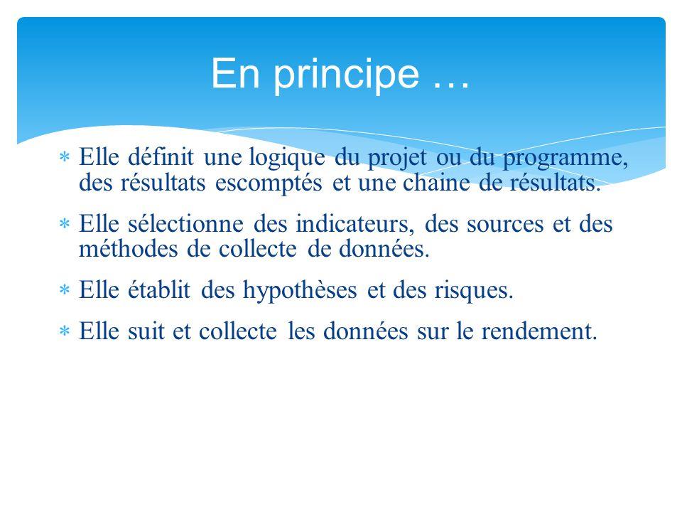  Elle définit une logique du projet ou du programme, des résultats escomptés et une chaine de résultats.  Elle sélectionne des indicateurs, des sour