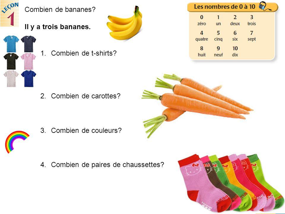 Combien de bananes. Il y a trois bananes. 1.Combien de t-shirts.