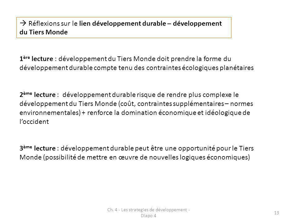 Ch. 4 - Les strategies de développement - Diapo 4 13  Réflexions sur le lien développement durable – développement du Tiers Monde 1 ère lecture : dév
